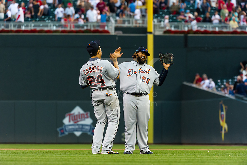 Miguel Cabrera #24 and Prince Fielder #28 of the Detroit Tigers celebrate after defeating the Minnesota Twins on September 29, 2012 at Target Field in Minneapolis, Minnesota.  The Tigers defeated the Twins 6 to 4.  Photo: Ben Krause