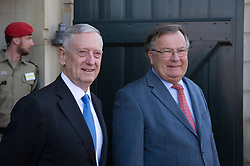 Secretary of Defense Jim Mattis and Danish Minister of Defence Claus Hjort Frederiksen wait for Global Coalition on the Defeat of ISIS meeting attendees to arrive at Eigtveds Pakhus in Copenhagen, Denmark, May 9, 2017. (DOD photo by U.S. Air Force Staff Sgt. Jette Carr)