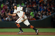 San Francisco Giants right fielder Hunter Pence (8) runs to third base on a hit against the Pittsburgh Pirates at AT&T Park in San Francisco, California, on July 25, 2017. (Stan Olszewski/Special to S.F. Examiner)