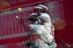 May 6, 2018 - Estoril, Portugal - Frances Tiafoe of US returns a ball to Joao Sousa of Portugal during the Millennium Estoril Open ATP 250 tennis tournament final, at the Clube de Tenis do Estoril in Estoril, Portugal on May 6, 2018. (Credit Image: © Pedro Fiuza via ZUMA Wire)