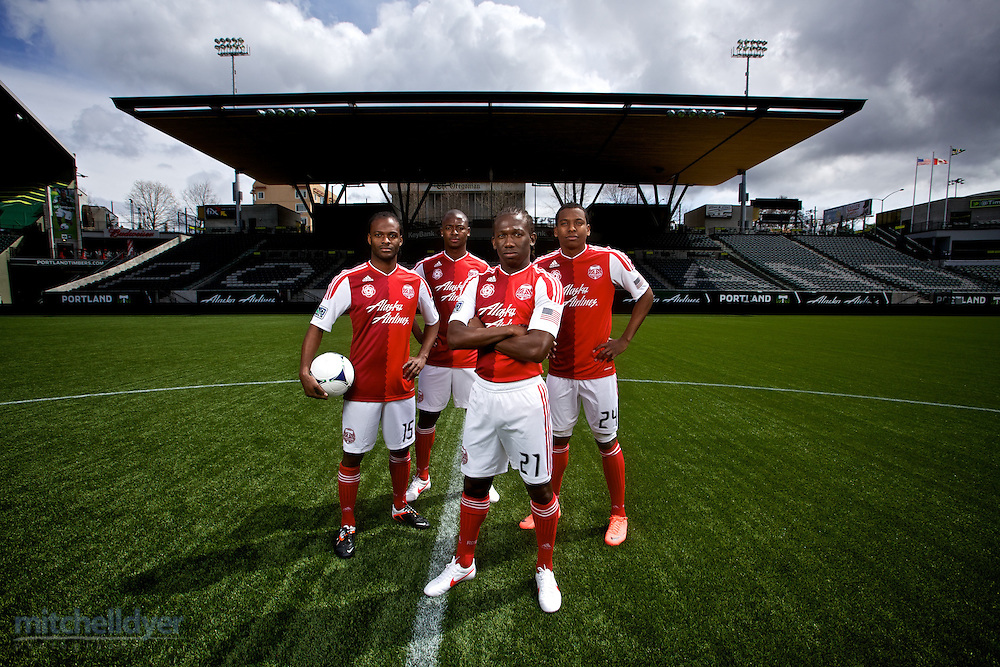 Portland Timbers players pose for a photo in Portland, OR. Photo by Portland Oregon Photographer Craig Mitchelldyer