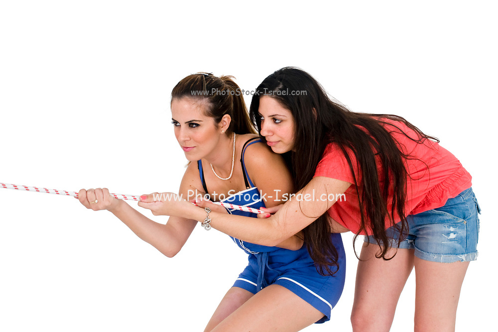 Two teens together in a Tug of War
