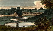 Chadwell Springs near Ware, Hertfordshire, England, a source of water which was taken by means of the 38 mile (61.155km) artificial waterway known as the New River to New River Head, London. The New River was created by Hugh Middleton (c1555-1631) between 1609 and 1613.    From 'Scenes in England' by the Rev. Isaac Taylor, London, 1822. Hand-coloured engraving.