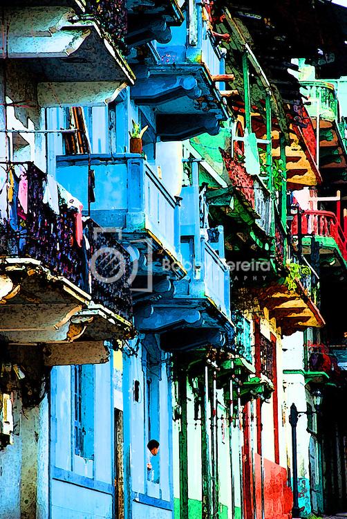 Old balconies at Casco Viejo - Panama.