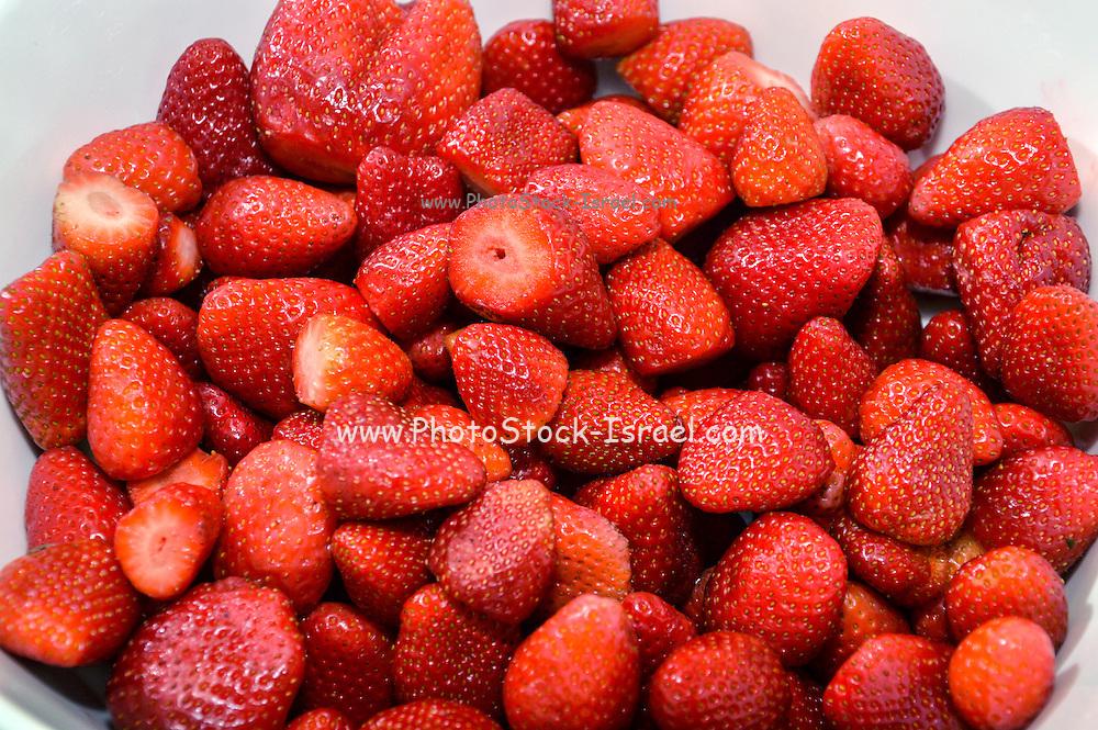Fresh ripe strawberries on white background