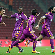 Galatasaray's Selcuk Inan (R) celebrate his goal with team mate during their Ziraat Turkey CUP soccer match Galatasaray between Eskisehirspor at the AliSamiYen TT Arena at Seyrantepe in Istanbul Turkey on Wednesday, 03 December 2014. Photo by Kurtulus YILMAZ/TURKPIX