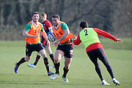 Jamie Roberts © makes a break. Wales rugby team training at the Vale Resort, Hensol near Cardiff on Tuesday 5th March 2013.  pic by  Andrew Orchard, Andrew Orchard sports photography,