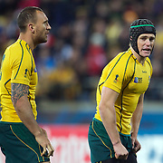 Berrick Barnes, (right) and Quade Cooper, Australia, during the Australia V USA, Pool C match during the IRB Rugby World Cup tournament. Wellington Stadium, Wellington, New Zealand, 23rd September 2011. Photo Tim Clayton...