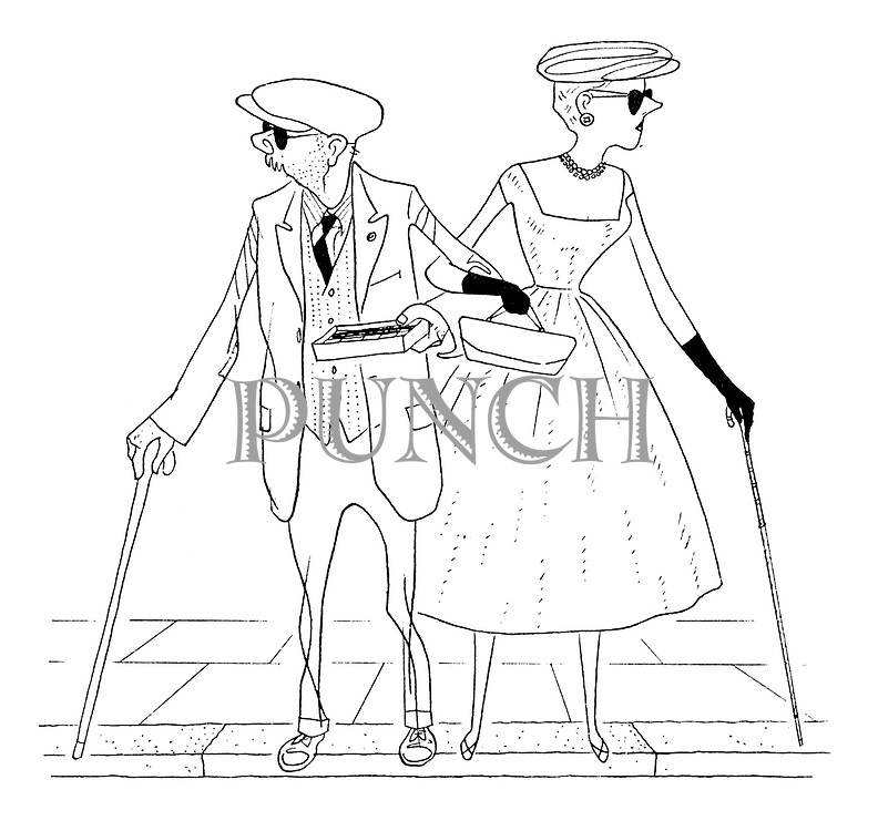 (cartoon showing a middle class father and daughter crossing the road in sunglasses who could be mistaken for blind beggars)