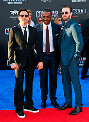 """Robert Downey Jr, Anthony Mackie, Chris Evans 04/12/2016 World Premiere of Marvel's """"Captain America: Civil War"""" held at Dolby Theater in Hollywood, CA. EXPA Pictures © 2016, PhotoCredit: EXPA/ Photoshot/ Albert L. Ortega<br /> <br /> *****ATTENTION - for AUT, SLO, CRO, SRB, BIH, MAZ, SUI only*****"""