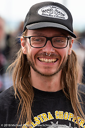Custom bike builder Christian Newman at the Flying Piston Builder Breakfast at the Buffalo Chip during the 78th annual Sturgis Motorcycle Rally. Sturgis, SD. USA. Sunday August 5, 2018. Photography ©2018 Michael Lichter.
