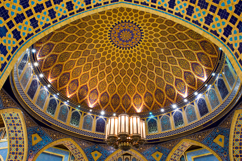 Handpainted ceiling of the dome of the Persia Court, Ibn Battuta Mall, Dubai, United Arab Emirates