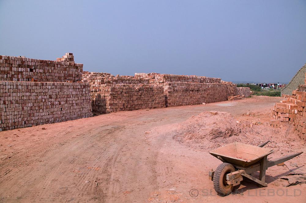 Stacks of bricks ready to sell at a brick making factory in Bangladesh.