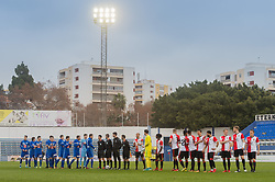 the line up of FC Luzern and Feyenoord during the friendly match between Feyenoord Rotterdam and FC Luzern at the Estadio Municipal on January 13, 2018 in  Marbella, Spain