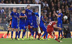 Liverpool's Philippe Coutinho takes a free-kick during the Carabao Cup, third round match at the King Power Stadium, Leicester.