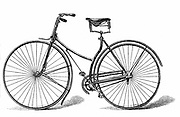Rover Safety Bicycle, the first commercially successful safety bicycle introduced by Starley & Sutton of Coventry, England, in 1885: Chain-driven. Wood engraving.
