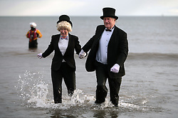 Licensed to London News Pictures.26/12/2012. Seaburn, Sunderland, UK, The Seaburn Boxing Day Dip has been taking place since 1974 and each year around 1000 dippers turn up in fancy dress, many to raise money for charity. Photo credit: Adrian Don/LNP