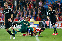 Atletico de Madrid´s Diego Costa (R)  and  Chelsea´s goalkeeper Mark Schwarzer during Champions League semifinal first leg soccer match between Atletico de Madrid and Chelsea, at the Vicente Calderon stadium, in Madrid, Spain, April 22, 2014. (ALTERPHOTOS/Victor Blanco)