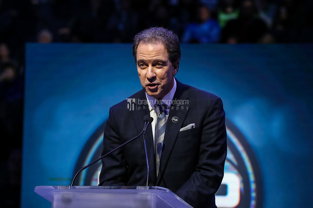 Feb 15, 2018; Minneapolis, MN, USA; TNT television personality Kevin Harlan speaks during a ceremony honoring former Minnesota Timberwolves head coach Flip Saunders prior to a game against Los Angeles Lakers at Target Center. Mandatory Credit: Brace Hemmelgarn-USA TODAY Sports