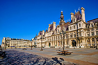 France, Paris (75), l'Hôtel de Ville durant le confinement du Covid 19 // France, Paris, the City Hall during the containment of Covid 19