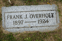 31 August 2017:   Veterans graves in Park Hill Cemetery in eastern McLean County.<br /> <br /> Frank J Overholt 1897 1924