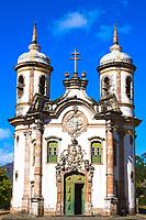 view of the Igreja de Sao Francisco de Assis of the unesco world heritage city of ouro preto in minas gerais brazil