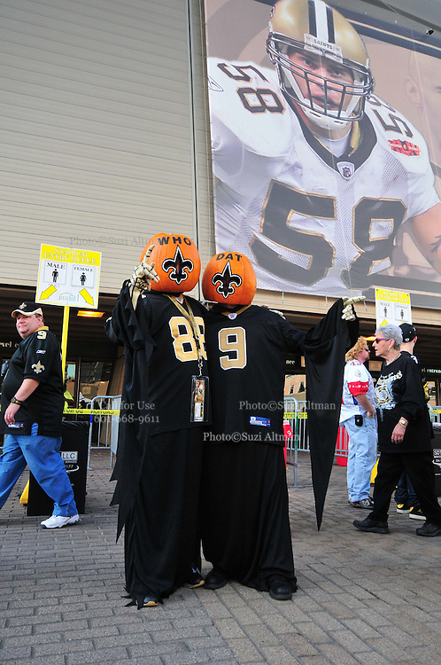 The New Orleans Saints fans dress up for Halloween in hopes of beating the Pittsburgh Steelers at the SuperDome Sunday Oct. 31,2010. The Saints play the Pittsburgh Steelers in prime time on NBC in New Orleans at the SuperDome in Louisiana on Halloween Oct.31 2010. Big Ben Roethlisberger of the Pittsburg Steelers arrives at  the SuperDome in New Orleans on Halloween night to play the New Orleans Saints.Photo©SuziAltman.