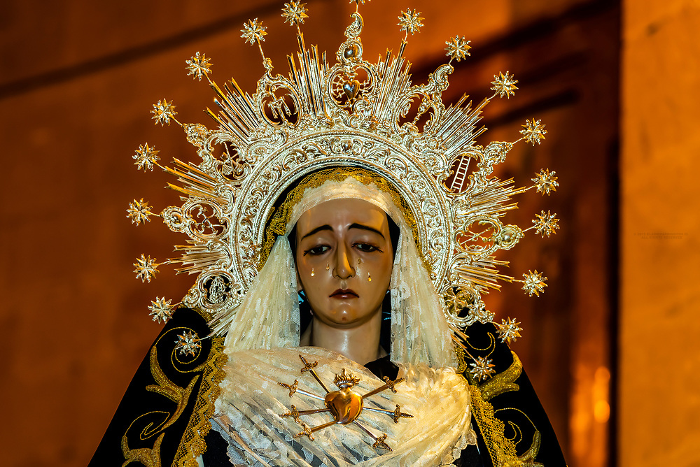 Virgen de los Dolores (Lady of the Sorrow), a paso (float) for Holy Week (Semana Santa), Church of La Encarnacion,  in the hill top town of Montefrio, Granada Province, Andalusia, Spain.