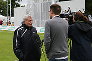 "Yorkshire CCC President Harold ""Dickie"" Bird is interviewed by the BBC ahead of the Specsavers County Champ Div 1 match between Yorkshire County Cricket Club and Warwickshire County Cricket Club at York Cricket Club, York, United Kingdom on 17 June 2019."