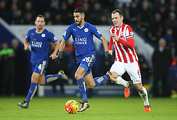Riyad Mahrez of Leicester City (C) and Glenn Whelan of Stoke City (R) in action - Mandatory byline: Jack Phillips/JMP - 23/01/2016 - FOOTBALL - King Power Stadium - Leicester, England - Leicester City v Stoke City - Barclays Premier League