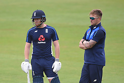 England's Jonny Bairstow (left) and Jason Roy during the nets session at Cardiff Wales Stadium.