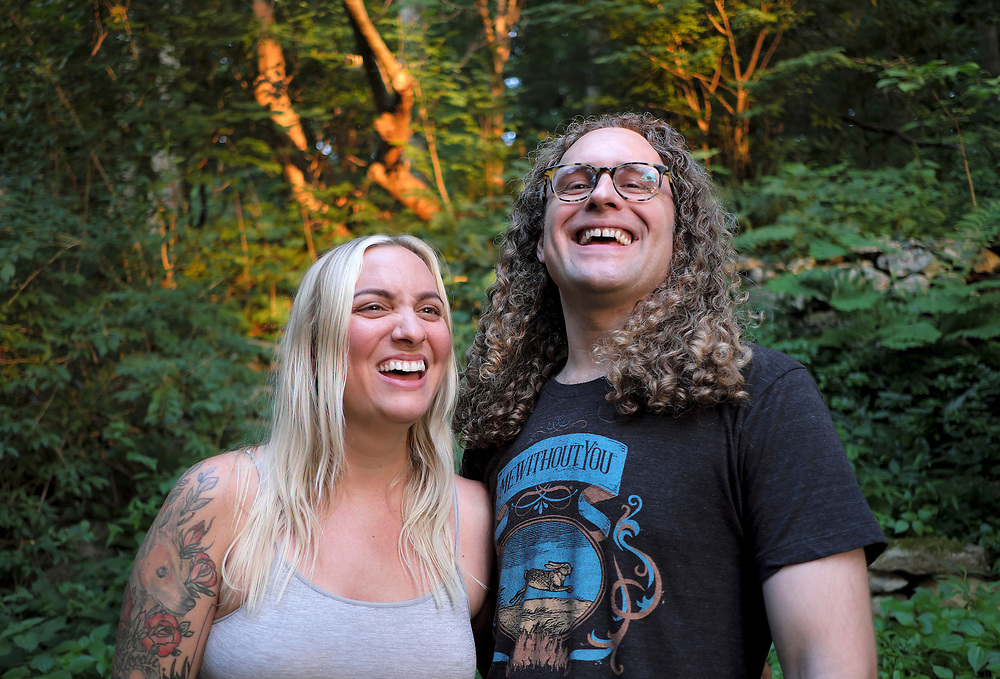 Carly Comando, left, and Tom Patterson, right, of the band Slingshot Dakota pose for a portrait July 13, 2018, in Lower Saucon Township, Pennsylvania. (Photo by Matt Smith)
