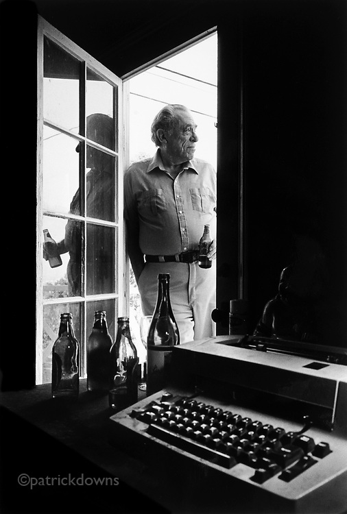 """Beat poet and writer Charles """"Hank"""" Bukowski, """"King of the Lowlifes"""" and a wonderfully warm person. At home, San Pedro, CA."""