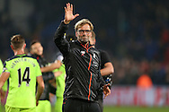 Jurgen Klopp, the Liverpool manager waves to the Liverpool away fans after full time. Premier League match, Crystal Palace v Liverpool at Selhurst Park in London on Saturday 29th October 2016.<br /> pic by John Patrick Fletcher, Andrew Orchard sports photography.