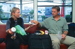 Dana & J. Nichols Eating Lunch on Train