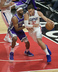 October 12, 2017 - Los Angeles, California, U.S - Blake Griffin #32 of the Los Angeles Clippers drives during their preseason game against the Sacramento Kings Thursday October 12, 2017 at the Galen Center in USC in Los Angeles, California. Clippers defeat Kings, 104-87. (Credit Image: © Prensa Internacional via ZUMA Wire)