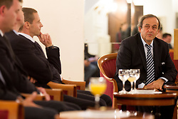 Aleksander Ceferin, president of NZS and Michel François Platini, president of Union of European Football Associations (UEFA)  at visit of M. Platini in Slovenia prior to the UEFA European Under-17 Championship Final match between Germany and Netherlands on May 16, 2012 in City Hall, Ljubljana, Slovenia. (Photo by Vid Ponikvar / Sportida.com)