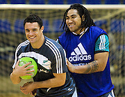 Dan Carter and Ma'a Nonu during a game of basketball before the pool session. Rugby - All Blacks pool session at QEII pool, Christchurch. Monday 2 August 2010. Photo: Joseph Johnson/PHOTOSPORT