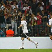 Germany's Bastian SCHWEINSTEIGER (L) celebrate his goal during their UEFA EURO 2012 Qualifying round Group A matchday 19 soccer match Turkey betwen Germany at TT Arena in Istanbul October 7, 2011. Photo by TURKPIX
