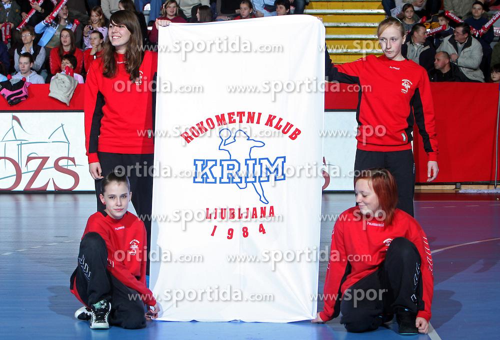Logo of Krim at EHF Champions league handball match in Group II between RK Krim Mercator and Gyori Audi Eto KC, on February 7, 2009, in Kodeljevo, Ljubljana, Slovenia. Gyori won 35:31. (Photo by Vid Ponikvar / Sportida)