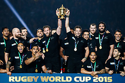 Number 8 Kieran Read and Flanker Richie McCaw (capt) lifts the Webb Ellis Cup with his team who celebrate after New Zealand win the match 34-17 to become 2015 World Cup Champions - Mandatory byline: Rogan Thomson/JMP - 07966 386802 - 31/10/2015 - RUGBY UNION - Twickenham Stadium - London, England - New Zealand v Australia - Rugby World Cup 2015 FINAL.