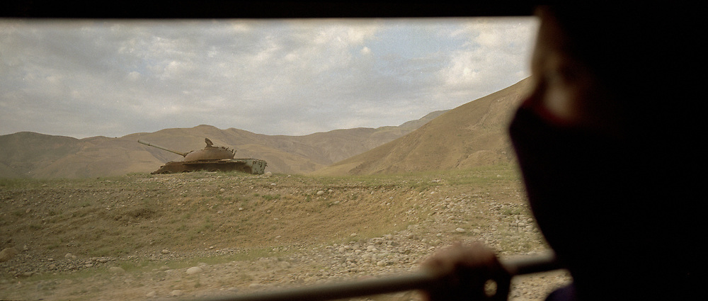 Common sight in Afghanistan: we pass numerous carcasses of Russian tanks. <br />