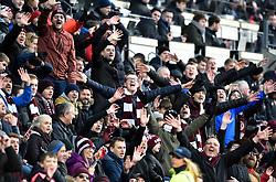Hearts fans celebrate during the Ladbrokes Scottish Premiership match at Tynecastle Stadium, Edinburgh.