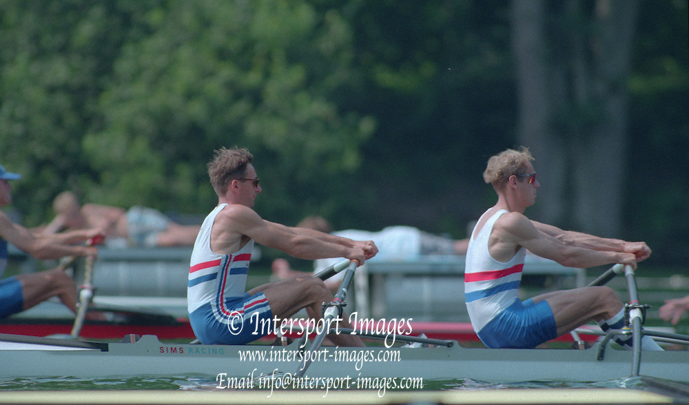 Lucerne, Switzerland. 1995 FISA WC III, Lake Rotsee, Lucerne,<br /> GBR LM2X. Bow. Peter HAINING and Carl SMITH, at the start of their heat. Men's lightweight Double Sculls<br /> [Mandatory Credit. Peter SPURRIER/Intersport Images]<br /> <br /> Image scanned from Colour Negative