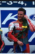 World Superbike racing at Donington Park, Derbyshire.