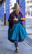 A woman wears a hat in Huaraz, in the Santa Valley (Callejon de Huaylas), Ancash Region, Peru, Andes Mountains, South America.