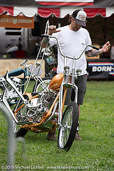 Grant Peterson moving BF11 Invited builder Joey Kerivan's custom 1947 Harley-Davidson Knucklehead chopper at the Born Free set-up day before the big show. Oak Canyon Ranch, Silverado, CA, USA. Friday, June 21, 2019. Photography ©2019 Michael Lichter.CA, USA.