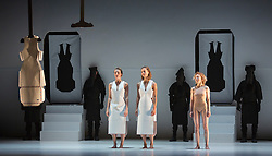 © Licensed to London News Pictures. 27/10/2015. London, UK. Dress rehearsal of the world premiere of Gravity Fatigue created by fashion designer and artist Hussein Chalayan for Sadler's Wells Theatre. Running from 28 to 31 October 2015 with 13 dancers (Aimilios Arapoglou, Amy Bell, Navala Niku Chaudhari, Aliashka Hilsum, Edouard Hue, Lisa Kasman, Stephanie McMann, Erik Nevin, Inpang Ooi, Mickael Marso Riviere, Louise Tanoto, Majon van der Schot and Jack Webb). Photo credit : Bettina Strenske/LNP