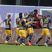 New York Red Bulls Manager Jesse Marsch, (center), celebrates with his players after Chris Duvall, New York Red Bulls, scored his sides second goal during the New York City FC Vs New York Red Bulls, MSL regular season football match at Yankee Stadium, The Bronx, New York,  USA. 28th June 2015. Photo Tim Clayton