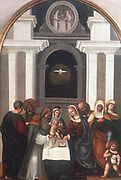 The Circumcision'.   The infant Jesus brought to the Temple for the ceremony of circumcision. The dove of the Holy Spirit hovers over the family group. The infant John the Baptist stands at front right.  Ludovico Mazzolino (1480-1528) Italian painter.